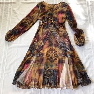 Komarov Dresses - Komarov silk midi flared dress sz:M boho summer